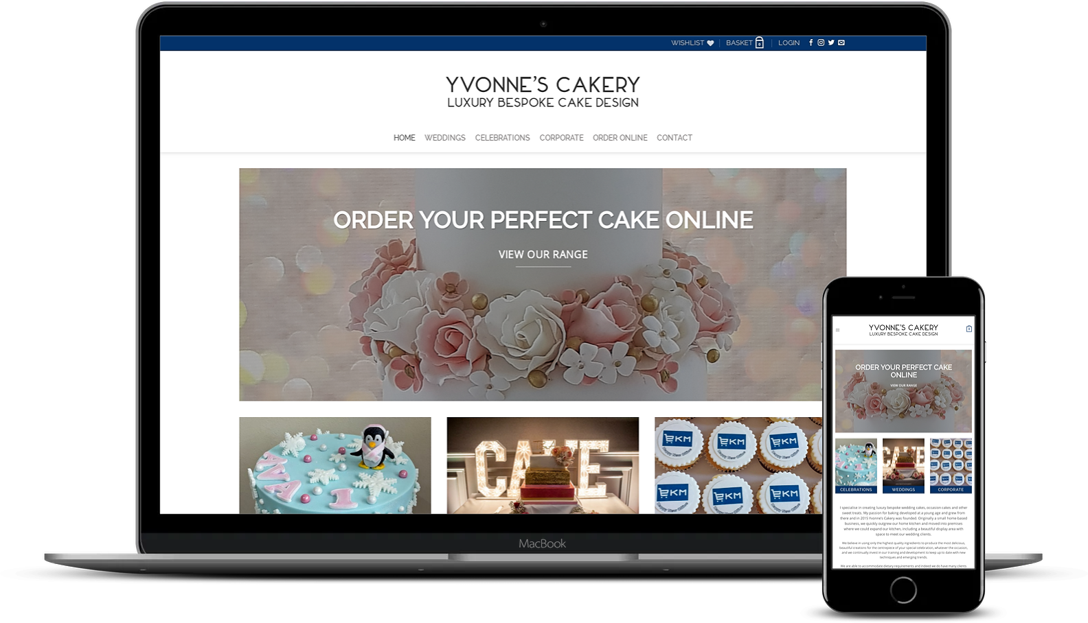 Yvonne's Cakery Macclesfield eCommerce website